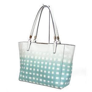 Coach Madison East West Tote White Gingham Print